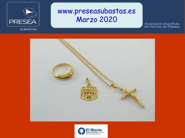 Subasta marzo 2020 - Anillo, colgante con escudo deportivo y cruz con cadena de oro - Monte de piedad Fundación la Caja de Canarias