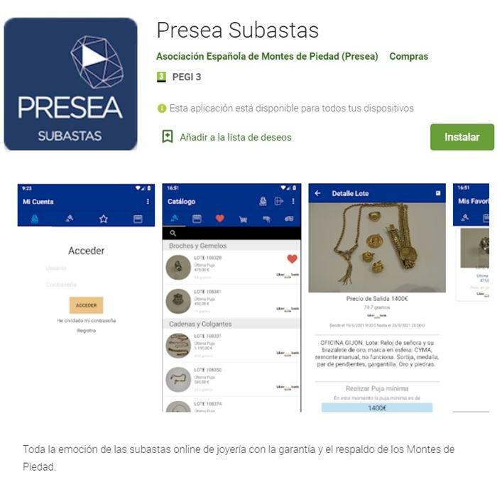 Presea Subastas - App para Android en Google Play